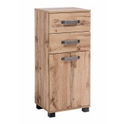 Lifestyle4Living Unterschrank in Wotaneiche-Nachbildung, mit 1 Tür, 2 Schubladen und 1 Einlegeboden, Maße: B/H/T ca. 40,3/94,8/32 cm