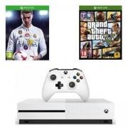 Конзола Xbox One S 500GB+Игра FIFA 18 за XBox One+Игра за XBOX ONE - GTA: Grand Theft Auto V