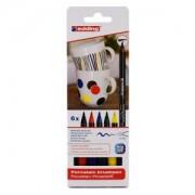 edding International GmbH edding® 4200 Porzellan-Pinselstift, bunt, Fasermaler für spülmaschinenfestes Gestalten großer Flächen und feiner Details, 1 Packung = 6 Stück, family