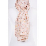 Beige-briquekleurige satijn zijden sjaal