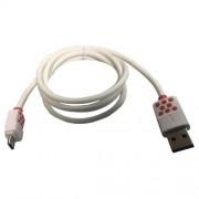Cablu Date Si Incarcare Micro USB HTC Desire 526 Alb Cu Buline