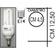 Lampada risparmio energetico 15W E14 3 tubi Kapta