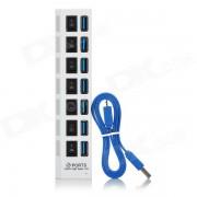 5Gbps 7 puertos USB 3.0 HUB c/ interruptor individual + adaptador de enchufe de la UE -Blanco