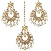 Lucky Jewellery Desiger White Color Gold Plated Kundan Earring Tikka Set For Girls And Women