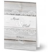 Optimalprint Inbjudningskort till bröllop, glansigt papper, standard-kuvert, 1 st, trä, grå, rustik, A6, vikt, Optimalprint