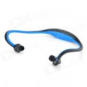 Deportes inalambricos detras de cuello MP3 auriculares w / TF / FM / USB - negro + azul
