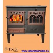 Toldi SPK-14 vízteres konyhai tűzhely, sparhelt - bordó ajtós kivitel