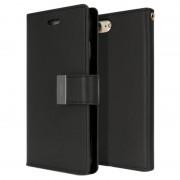 Bolsa tipo Carteira Rich Diary Mercury Goospery para iPhone 7 / iPhone 8 - Preto