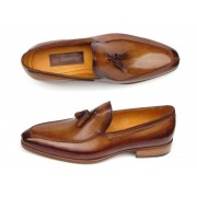 Paul Parkman Hand Painted Tassel Loafer Shoes Camel & Brown 083-CML