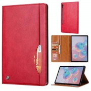 Samsung Voor Galaxy tab S6/T860/T865 Knead huidtextuur horizontale Flip lederen draagtas met foto frame & houder & kaartsleuven & portemonnee (rood)