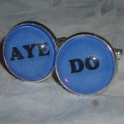 Och Aye Naw Glass Cabochon Cufflinks Wedding Groom