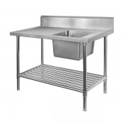 Stainless Steel Sink Bench 1200 W x 700 D with Single Right Bowl and 150mm Splashback