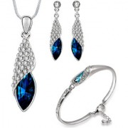 Om Jewells Crystal Jewellery Combo of Exquisite Rhodium Plated Designer Pendant Necklace Set and Bangle Bracelet for G