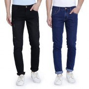 John Wills Men's Black and Dark Blue Cotton Stretchable Slim Fit Jeans (Pack of 2)