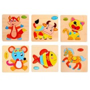 Mity Rain 3D Wooden Puzzles for Toddlers - 6 Pack Preschool Age Kids Wooden Puzzle Bundle Pack,Colorful Solid Wood Pieces Zoo Set - Fox,Cattle,Cat,Mouse,Fish,Horse
