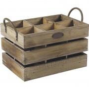 Caisse 6 compartiments en bois vieilli