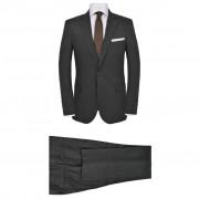 vidaXL Pánský dvoudílný oblek vel. 48, lněný, tmavě šedý