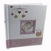 Album foto personalizabil My Baby 40 pagini autoadezive margini aurii cuoare roz