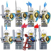 Generic DR.Tong Medieval Castle Knights Blue King Knight Bule Lion Golden Dragon Heavy Shield Building Blocks with Weapon Gift Toys 9801A to H