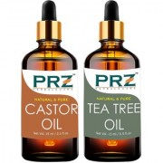 PRZ Combo Set Of Castor Carrier Oil & Tea Tree Essential Oil ( Each 15ml ) - Pure Natural & Therapeutic Grade Oil For Aromatherapy Body Massage Skin Care & Hair Regrowth