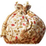 AyA Fashion Designer Royal Ethnic Red Clutch Silk Potli Batwa Bag with Beads Work|Hand embrodired Design|Rajasthani Potli(Red)