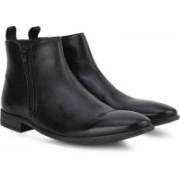 Clarks Chart Zip Black Leather Boots For Men(Black)