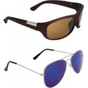 Zyaden Wrap-around, Aviator Sunglasses(Brown, Blue)