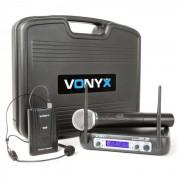 Vonyx WM512C 2 canaux VHF Combi Système Sans Fil avec Handheld Bodypack et Display
