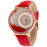 DS FASHION Red Leather Strap Diomand Plated White Bold Round Dial Analog Watch - For Girls And Womens - MX-RD2802