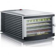 Deshidrator Graef, DA506, cu 6 tavi de 295 x 365 mm, fara BPA, temperatura ajustabila si termostat, argintiu