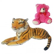 Worthyy Collections Big Forest Tiger with Car Hanging Teddy Bear Pink, Plush Fabric Soft Toy, Black-White-Beige Color, Size 9 inches, (Pack of 2)