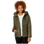 Kenneth Cole New York Faux Fur Trimmed Short Puffer Olive