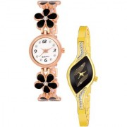 Varni Retail Blck Flower Belt And Black Leaf Dial Gold Chain 2 Combo Watch For Girls