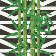Merkloos 20x Servetten botanische bamboe print 33 x 33 cm