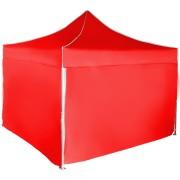 Gyorsan összecsukható sátor 3x3 m - alumínium, Piros, 4 oldalfal
