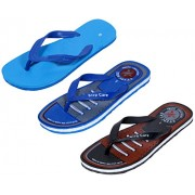 IndiWeaves Men Step Care Comfortable Flip Flop House Slipper And Hawaai Chappal (Pack Of 3 Pairs)-Assorted_Multiple color_Size-6