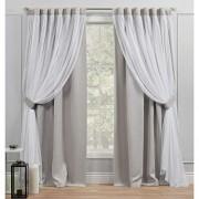 Exclusive Home Curtains Exclusive Home Cortinas Catarina con Capas sólidas Opacas y Transparentes Ocultas, 52 x 108 cm, Color Gris