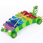 PA Toys Wooden Xylophone Musical Instrument Xylophone Car Drag Animal Hand and Struck Xylophone Piano Toy for Kids