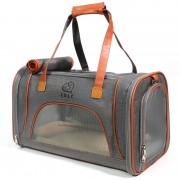 Travel Pet Bag Carrier PU Leather Dog Handbag Cat Tote Bag 46x26x28cm - Dark Grey