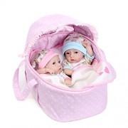 SCDOLL Lifelike Mini Reborn Baby Dolls Realistic Silicone Vinyl Newborn Premie Doll 11inch 27cm Bathable Twins Dolls with Cradle Children Xmas Gifts