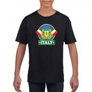 Bellatio Decorations Italie kampioen shirt zwart kinderen L (146-152) - Feestshirts