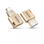 16GB USB Flash Drive, А-Data UC350(AUC350-16G-CGD), USB 3.0/TypeC(OTG), златиста