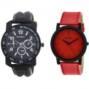 RIDIQA Black Strap White Dail Combo Watches for cauple combo RD-112-049