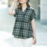 チェックシャツブラウス セーズ トップス 【ライトアップショッピングクラブ】