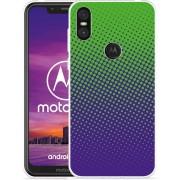 Motorola One Hoesje lime paarse cirkels