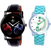 Black Dial 2 Jaguar And Green Peacock Couple Analogue Watch By Vivah Mart