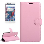 OnePlus 3 & 3T Litchi Texture Horizontal Flip Leather Case with Magnetic Buckle & Holder & Card Slots & Wallet (Pink)