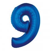 9. szám, fólia lufi, 91 cm, kék