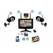 """Sistema Videosorveglianza Visione Remota su Cellulare 2 Telecamere Wireless x Esterno 1 Megapixel Ir Led + Monitor 7"""" DVR SD Card 32 GB Push Alarm"""