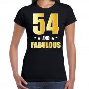 Bellatio Decorations 54 and fabulous verjaardag cadeau shirt / kleding 54 jaar zwart met goud voor dames